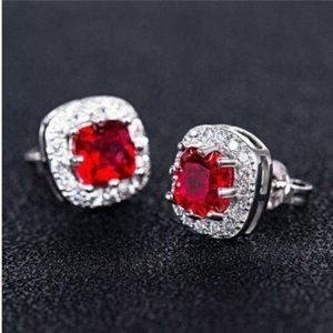 Ruby & White Sapphire Silver Halo Stud Earrings